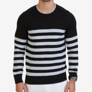 Nautica Mens Breton Striped Sweater Black Gray XL